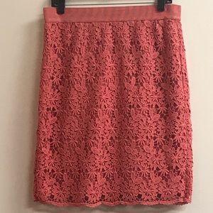 Coral Lace Ann Taylor Pencil Skirt